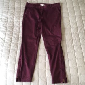 Loft zipper ankle chinos wine color, burgundy